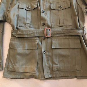 Vintage Jackets & Coats - Vintage Army Green Belted Shirt Jacket